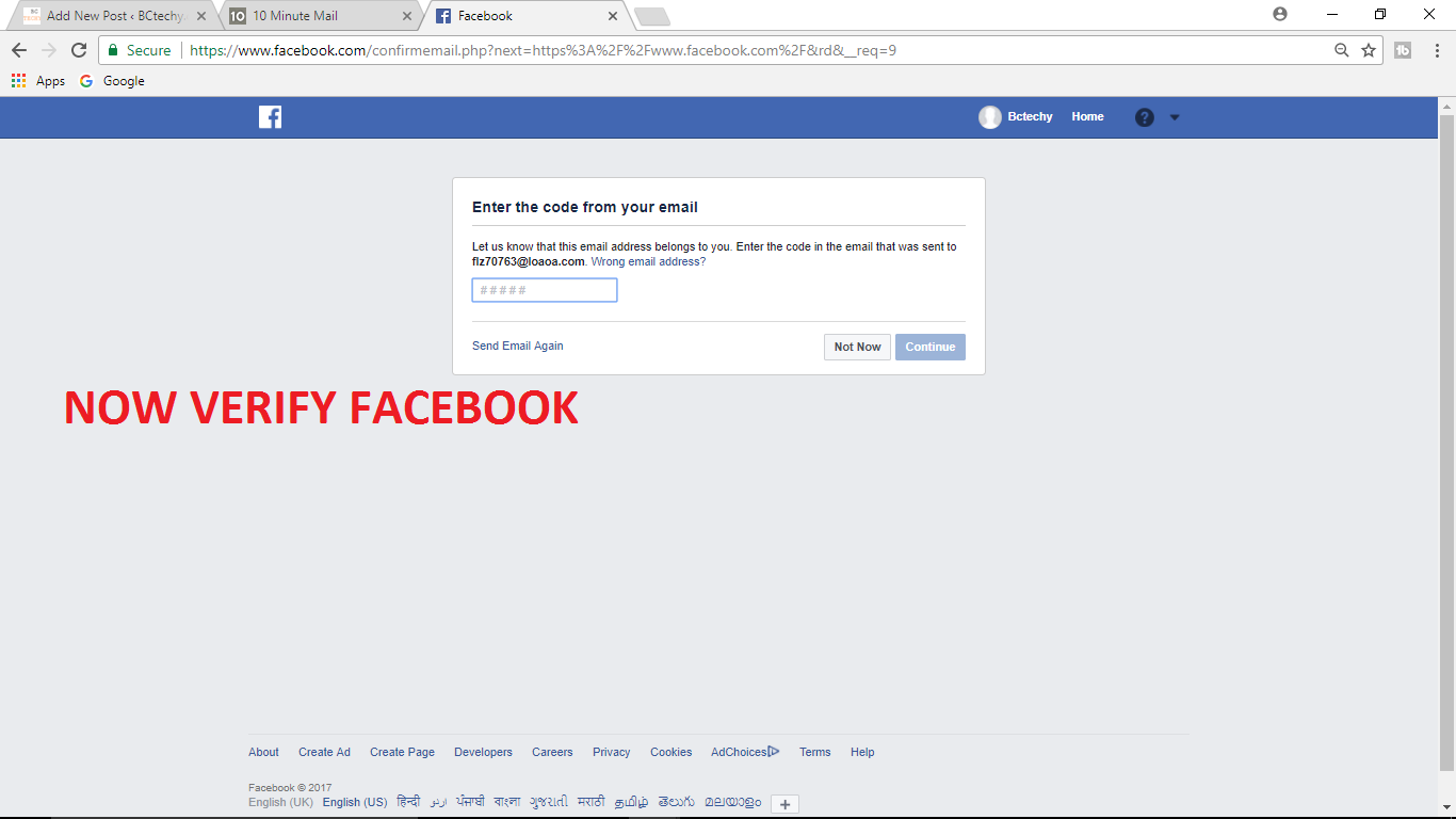 FACEBOOK WITHOUT VERIFY