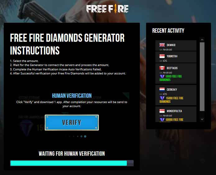 Latest FF Diamond Generator